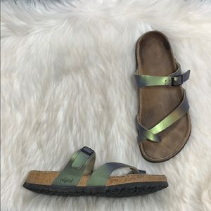 Birkenstock Gizeh Metallic Green Sandals Sz 8